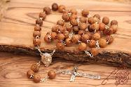 Olive Wood Carved Beads Rosary