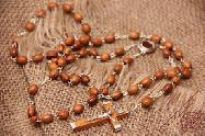 Olive Wood Rosary with Oval Beads