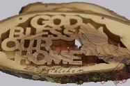 Olive Wood Hand Made Sign God Bless Our Home