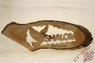 Olive Wood Hand Made Sign Shalom