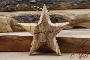 Olive Wood Carved Christmas Star Tree Toy Decoration