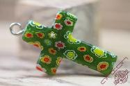 Jerusalem Hand Made Jewelry Glass Cross Green Color