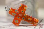 Jerusalem Hand Made Jewelry Glass Cross Orange Color