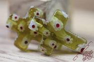 Jerusalem Hand Made Jewelry Glass Cross Grass Color