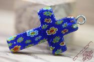 Jerusalem Hand Made Jewelry Glass Cross Blue Color