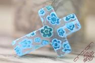 Jerusalem Hand Made Jewelry Glass Cross Blue Sky Color