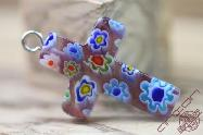 Jerusalem Hand Made Jewelry Glass Cross Mix Color