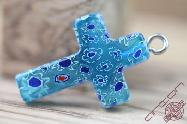 Jerusalem Hand Made Jewelry Glass Cross Blue Sea
