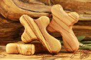 Olive Wood Small Craved Hold Hand Cross