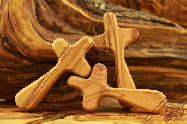 Olive Wood Carved Hand Cross Medium Size