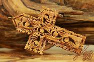 Olive Wood Art Carved Ornament Decorative Cross Pendant