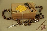 Olive Wood Catholic Rosary With Oval Olive Wood Beads Retail Box